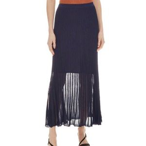 Sandro metallic navy blue pleated skirt